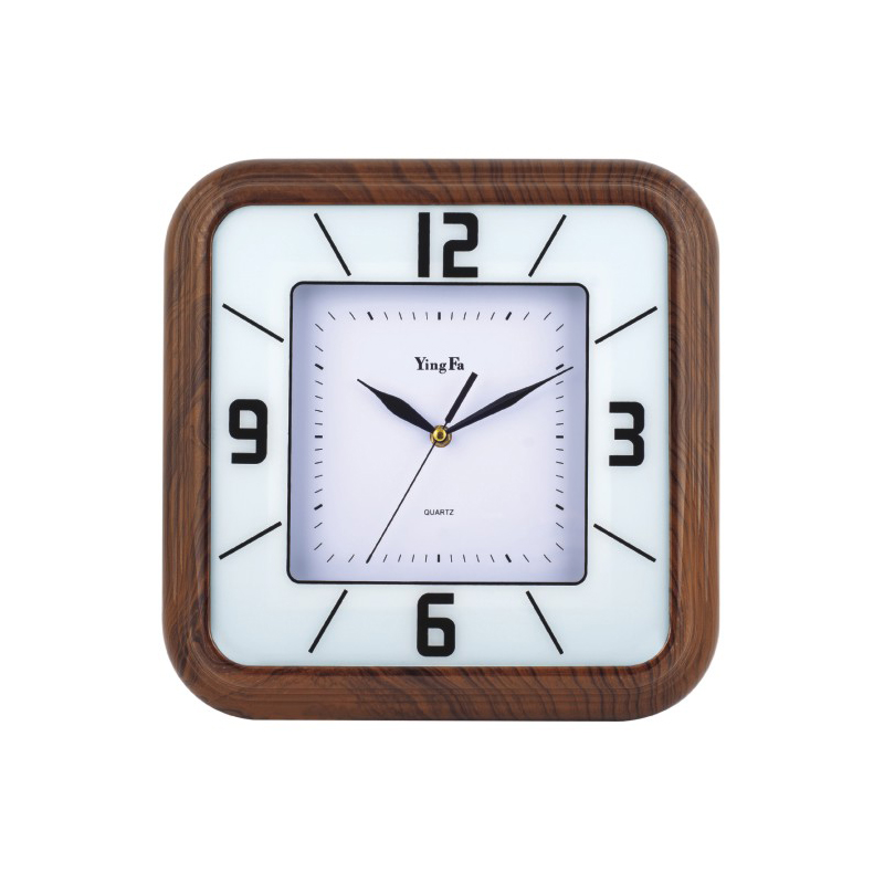 Retro wooden color square art clock