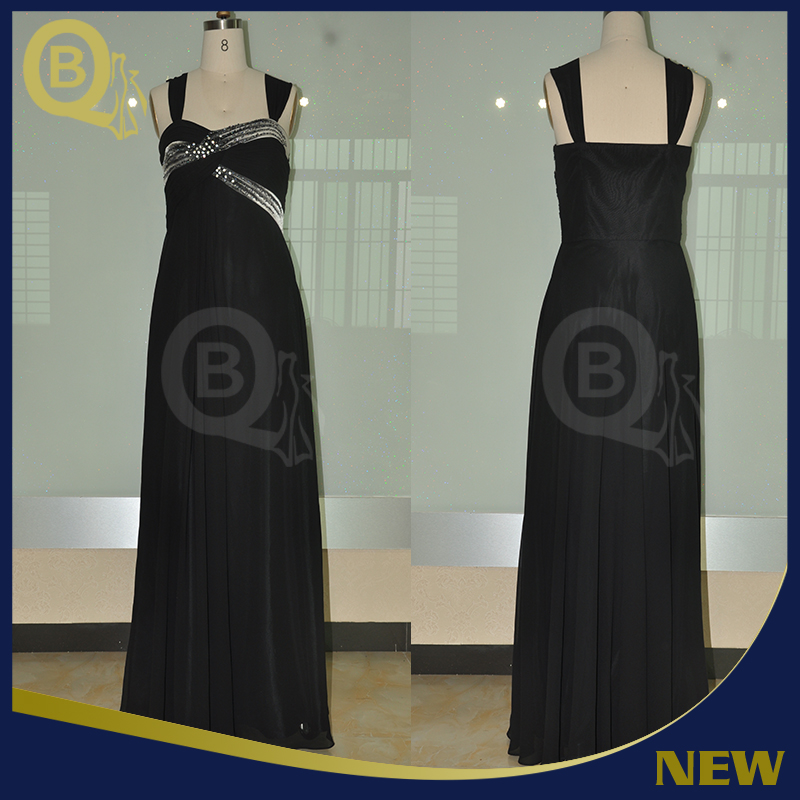 Hand-painted Black Straight Europe Simple Style Sleeveless beaded Long Evening Dress 2016