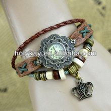 2014 hot sell genuine leather crown pendent vogue watch