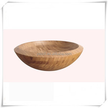 Round Carbonized Bamboo vessel sink For bathroom