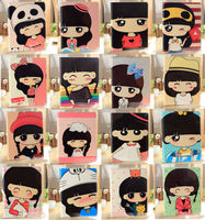 Cute Cartoon girl painting wallet flip case cover Stand For Apple IPad 2 3 4
