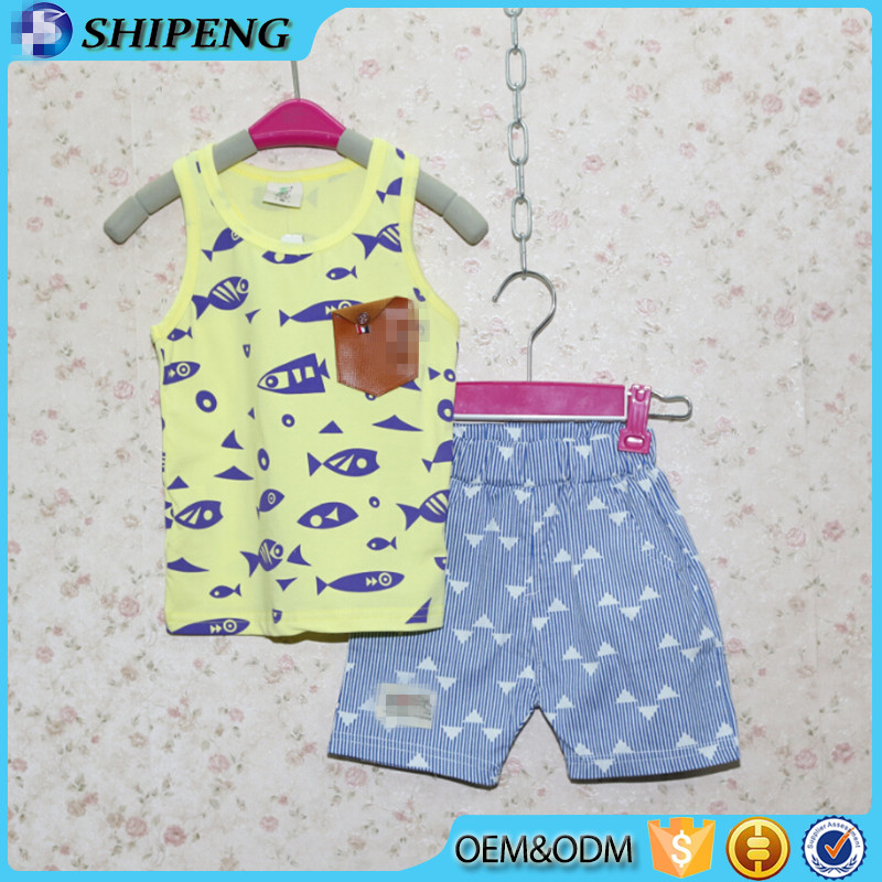 kids wear clothing set for baby boys knit top and printed short