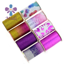 Glitter 75MM Rainbow Stripes Grosgrain Ribbon 3 Inch Printed Ombre Grosgrain Ribbon