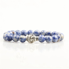 Fashion accessories cheap sodalite gemstone bead stretch bracelets with ancient silver buddha head