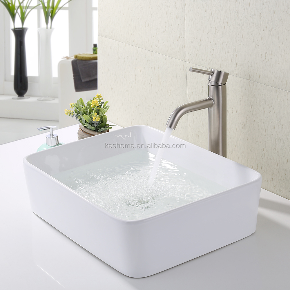 Bathroom Vessel Sink Faucet Combo Bathroom Rectangular White Ceramic Porcelain Counter Top Vanity Bowl Sink
