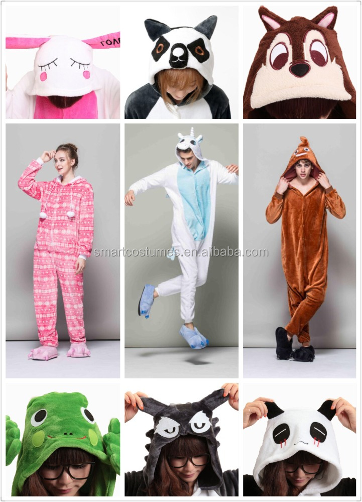 Lovely winter footed adult animal onesie flannel unisex adult footed hooded onesie