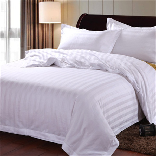 300T cotton sateen stripe king size hotel bed linen set wholesale bedding