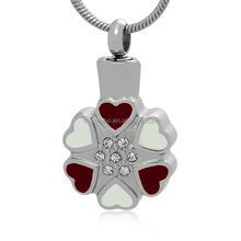 Dearest Always in My Heart Cremation Pendant Lucky Four Leaf Clover With Gemstone Stainless Steel Jewelry Charm Ashes Urn