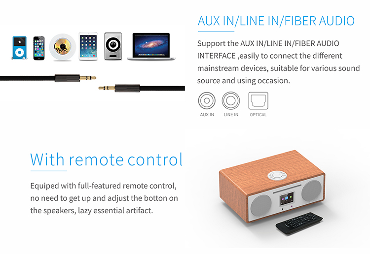 ALL IN ONE- CD Player + Internet radio+DAB+FM PLL radio, USB+ AUX+Wireless charge combo system