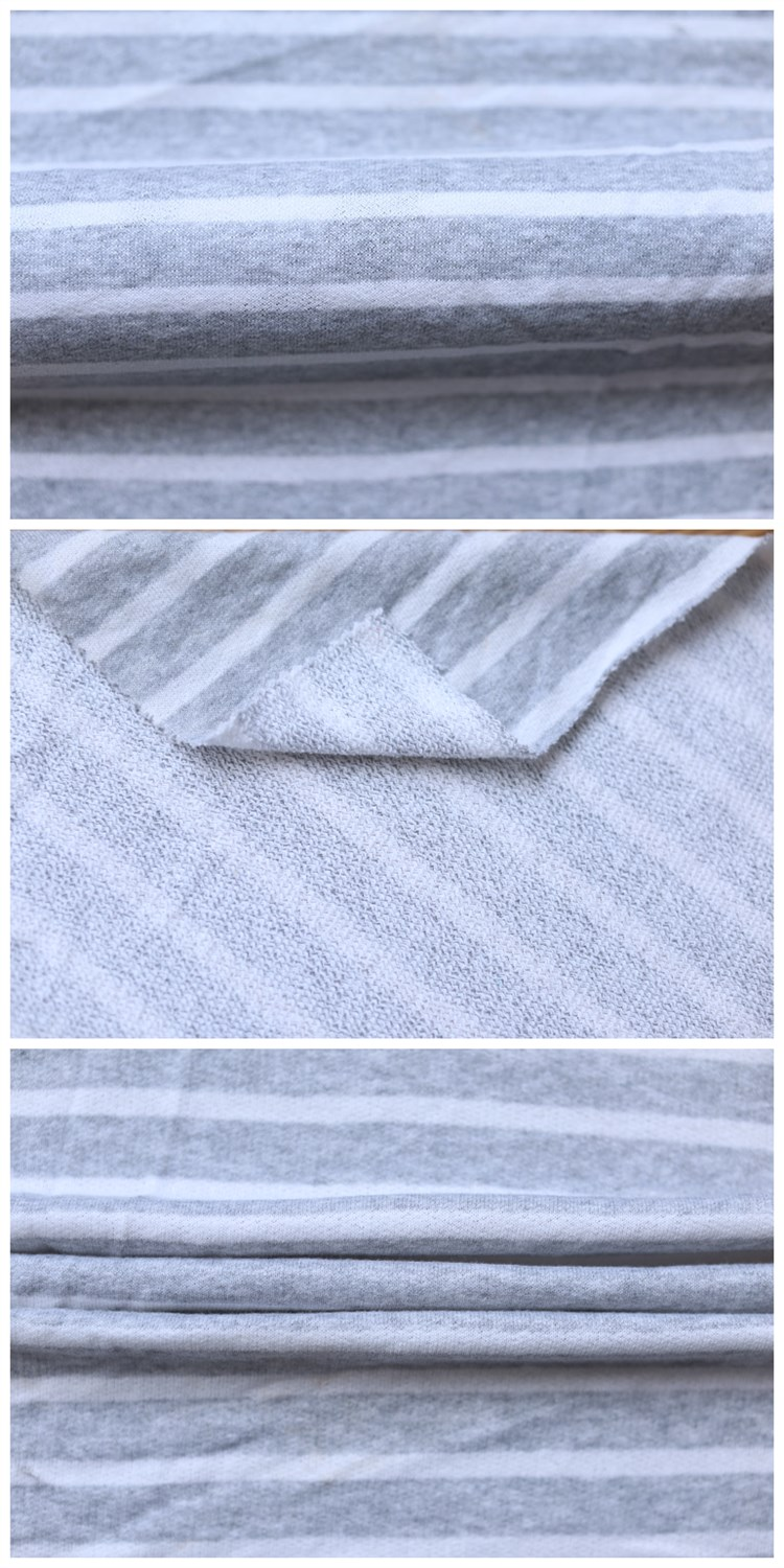 Polyester Cotton T-shirt Terry Textile Fabric White Stripe Knit Fabric