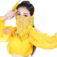 BestDance women belly dance face veil belly dancing beads chiffon face veil OEM