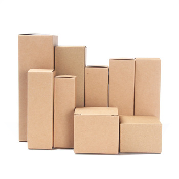 Rectangular flat kraft paper cardboard foldable cosmetic boxes essential oil bottle packaging box
