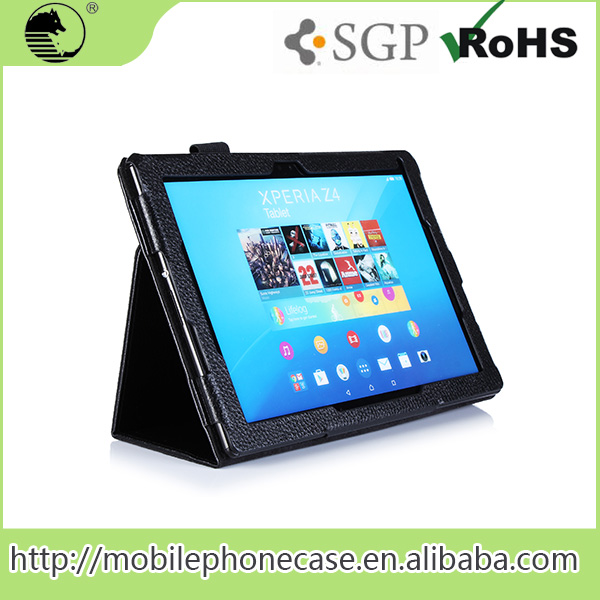 folio stand leather case for Sony Xperia Tablet Z with multi-angel