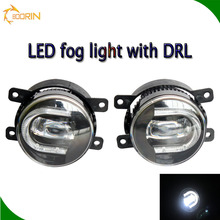 2016 new 3.5'' 30W white yellow car LED fog headlight with DRL daytime running lights 9005 9006 hb3 hb4 H11 toyota prado fog lig