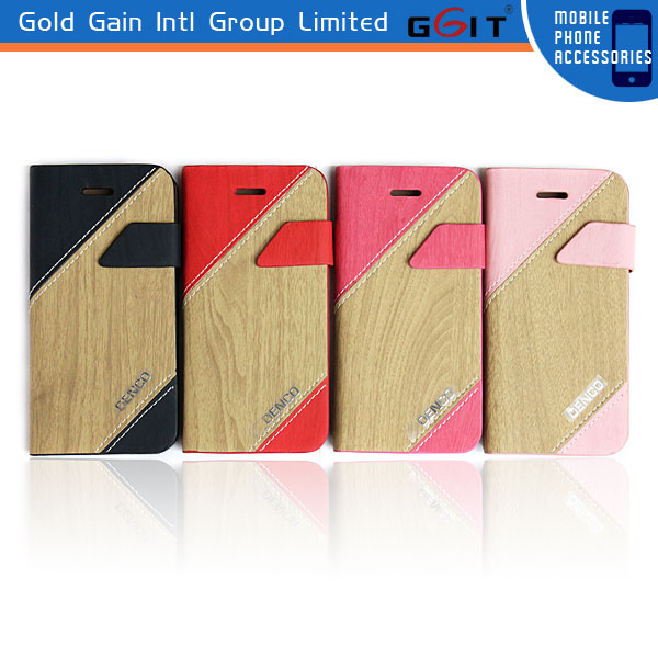 Stitching Colors Wooden Skin Leather Wallet Case For iPhone 5S Flip Cover With Stand