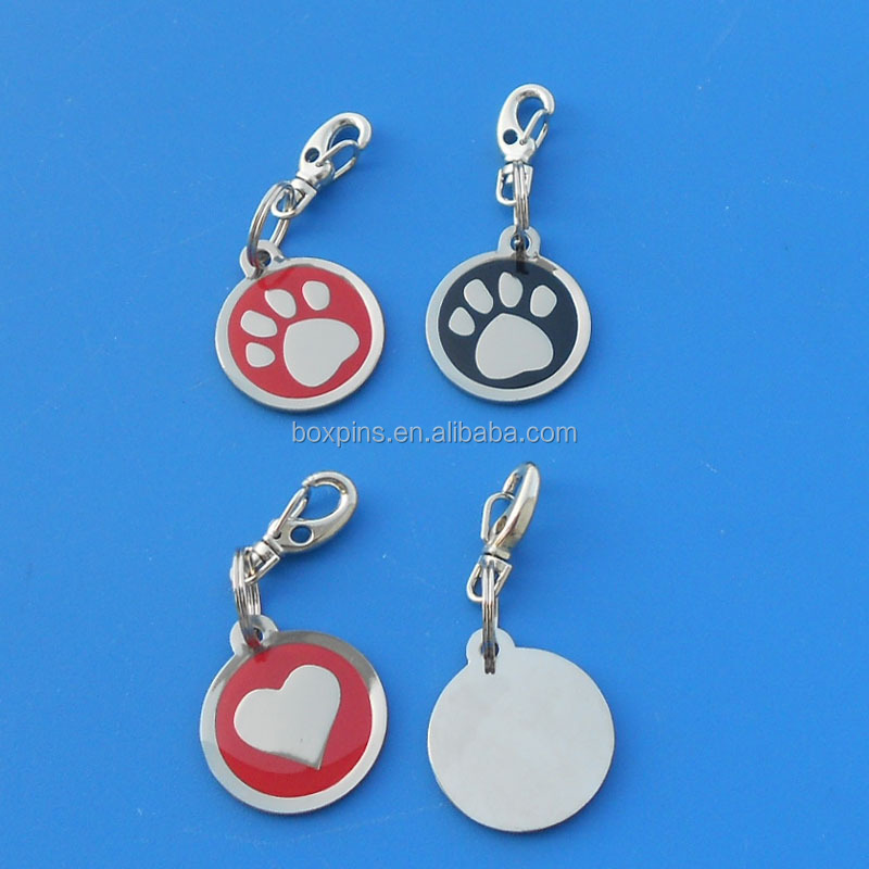 red heart paw logo low MOQ dog ID tag with jump ring