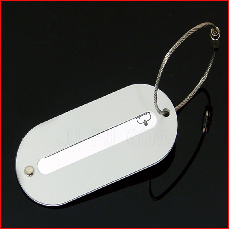 personalized metal luggage tag with leather strap