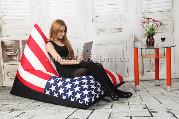 visi flag printing corner sitting puff bean bags without beans
