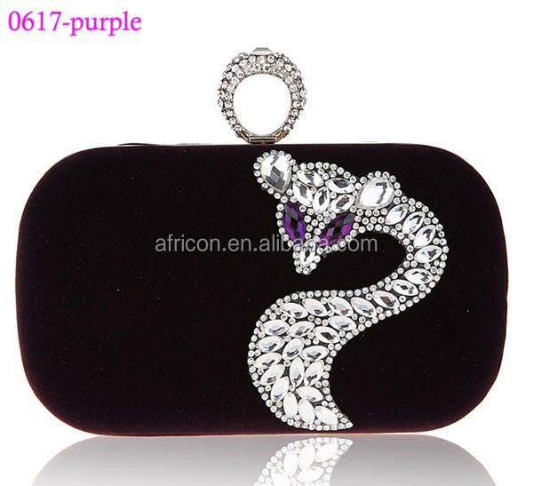 0617 purple wholesale finger ring clutch bags ladies ring clutches bag