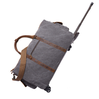 YD-2309 Hiking Camping outdoor weekender leather luggage trolly travel canvas duffle trolley bag, trolley travel bag