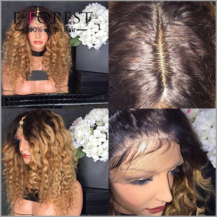180% density tight curly ombre black roots honey blonde human hair full lace wig