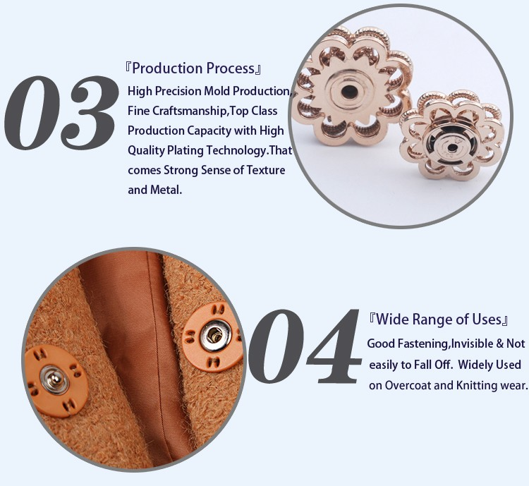 Flower Fashion Metal Press Stud Buttons BM10819