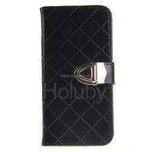 Rhombus Pattern Magnetic Metal Buckle Card Slots Wallet TPU + PU Leather Cover Case for iPhone 7