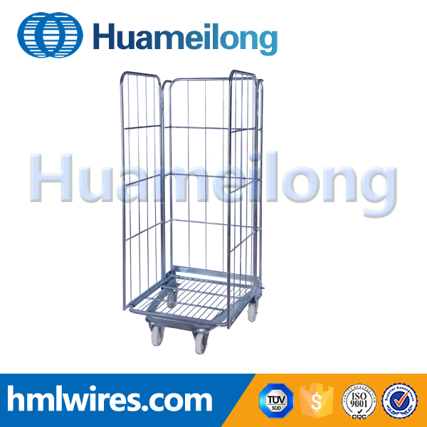 Supermarket folding storage steel metal roll container for hotel