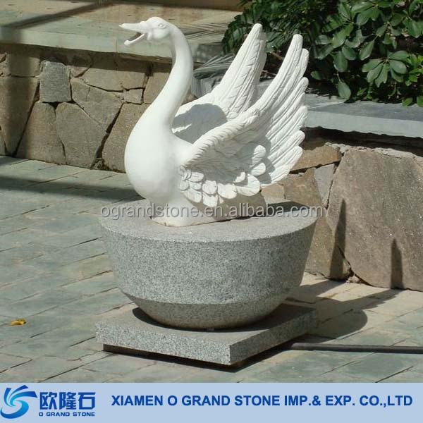 Carved White Marble Stone Garden Swan Decoration Statue