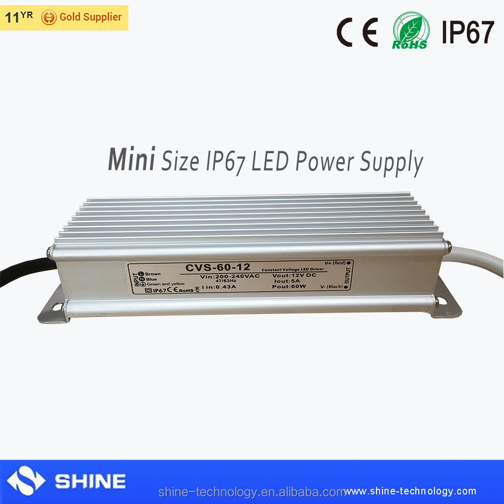 high quality small size waterproof ip67 ac dc 12v 60w constant voltage led driver for led strip led module