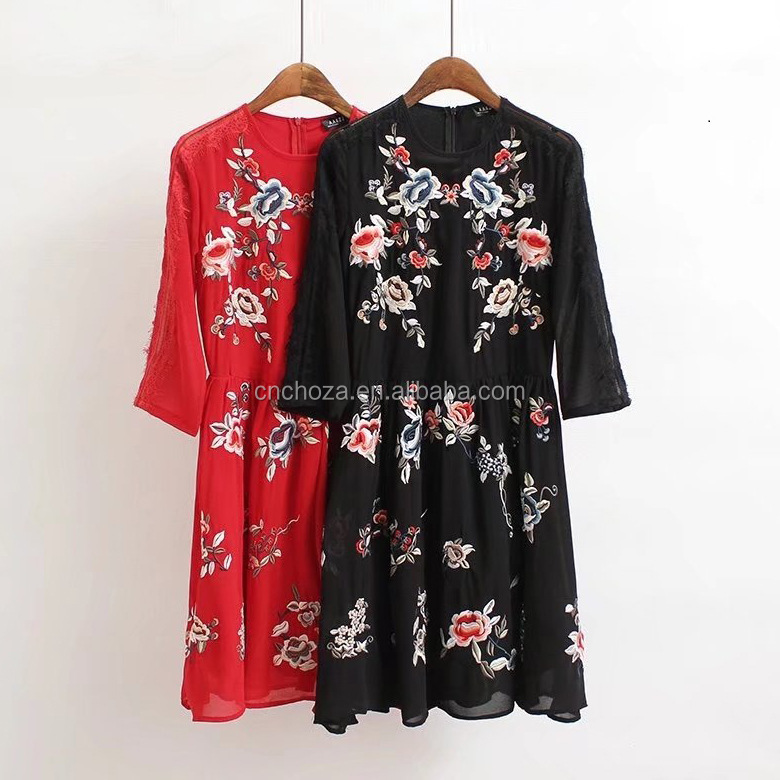 Z12048A Women Flower Lace Embroidery Dress Vintage European Fashion Casual Retro Dress