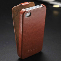 Attractive stylish PU leather cellular phone bag for Iphone 4 4S with crazy horse design vintage engraving