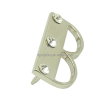 letter B metal pin with stones