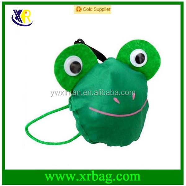 Frog Shaped Eco-Friendly Resuable Large Polyester Folding Shopping Bags Handbag Tote Bag