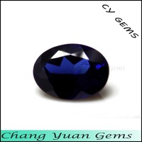 Oval shape synthetic stone blue sapphire