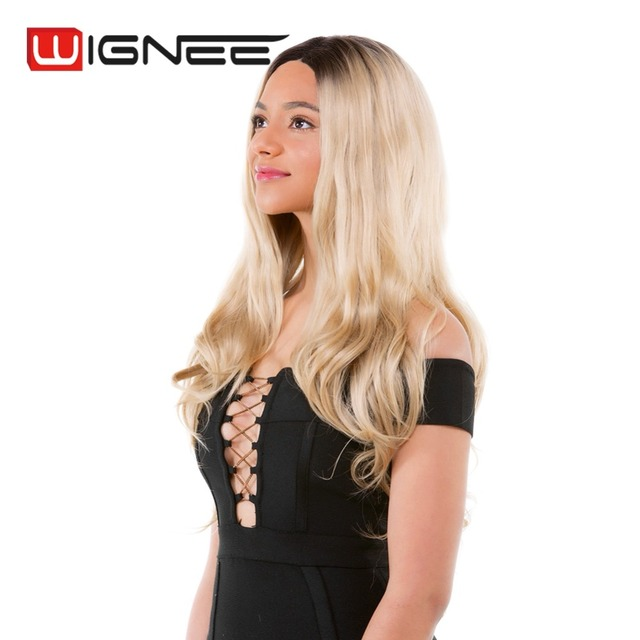 Wignee 2018 Fashion Wig Premium Synthetic Hair Lace Front Wigs For Black Women Long Straight Hair Blonde Black Color Daily Wear