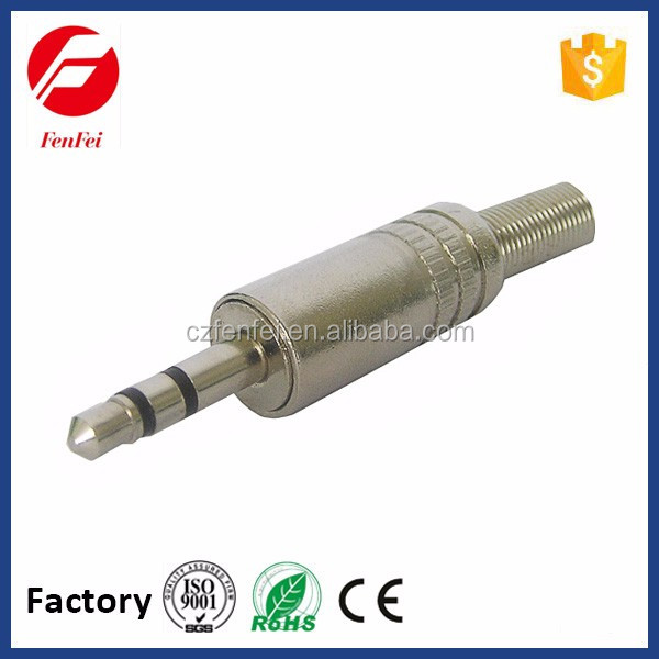 Electronic Audio Adapter and Connector, 3.5mm Stereo Plug With Spring for Audio Video Device