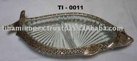 Fish Shape Glass Serving Tray & Bowl, Glass Tableware, Antique Glass Tray