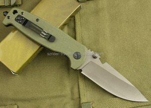 OEM army green G10 Handle High Quality Hunting Knife Rescue Knife