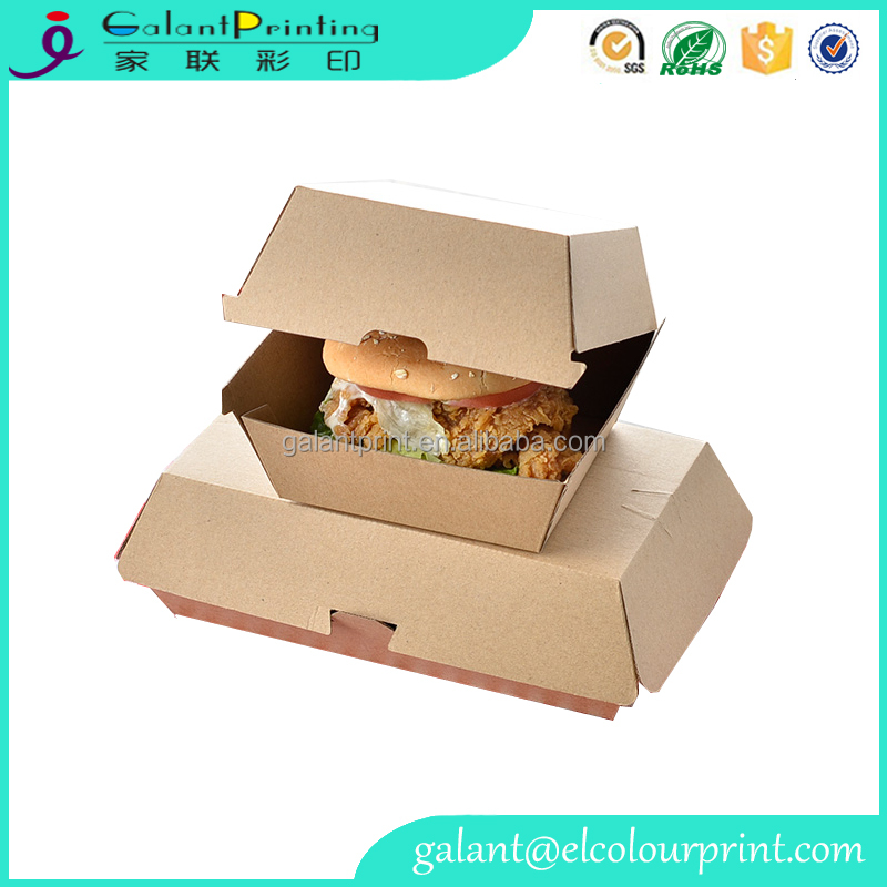 custom printing food grade kraft paper burger packaging box with high quality