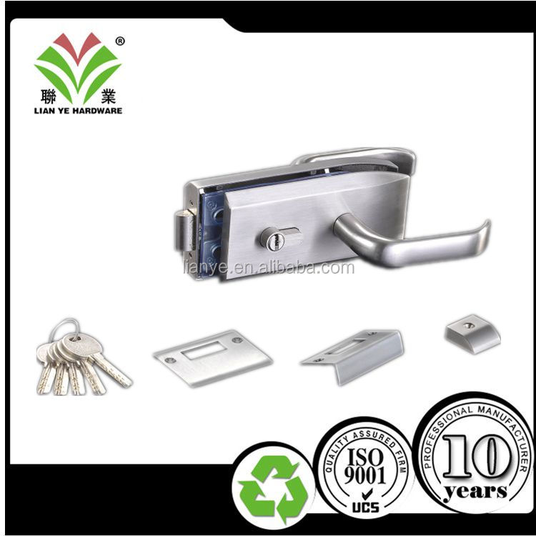High quality polish finish glass door lock for double door
