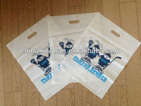 2015 promotional customers logo print die cut Plastic bag shopping bag for garment