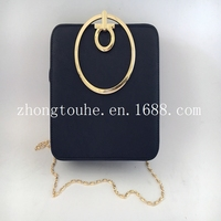 new arrival metal accessory leather ladies evening bag clutch bag