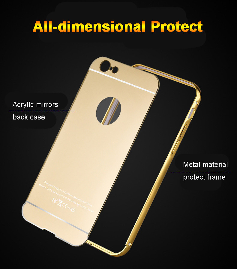 Luxury Aluminum for iPhone 7 Metal Bumper Case; PC Mirror Back Cover for iPhone 7