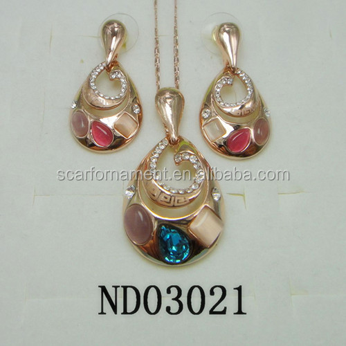 Factory Sale Jelly Color Diamond Jewelry Set Rose Gold Hot Pink Indian Bridal Jewelry Sets Maroom Alloy Wedding Jewelry Sets