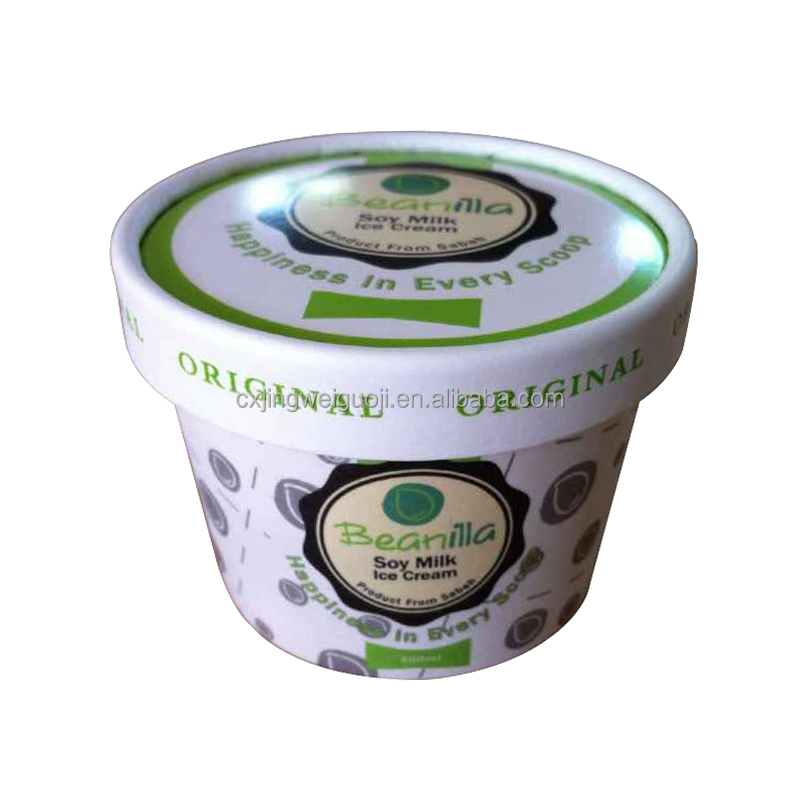 3oz 100ml disposable paper custom printed ice cream tubs and lids