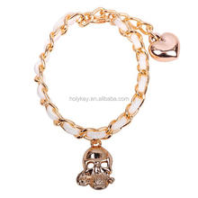 2014 new products in alibaba spanish fashion leather cord chain skull charm bracelet