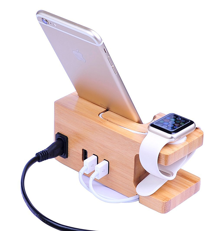 bamboo desktop organizer for apple watch charging stand dock
