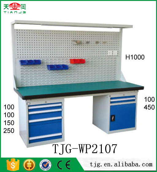 TJG metal garage used industrial steel workbenches with drawers