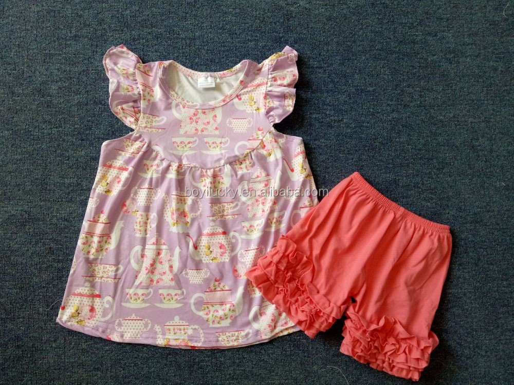 Pink flutter top ruffle shorts set children's boutique clothes wholesale kids western wear turkish children clothing